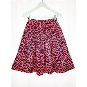 J. Crew pink and black heart patterned mini skirt